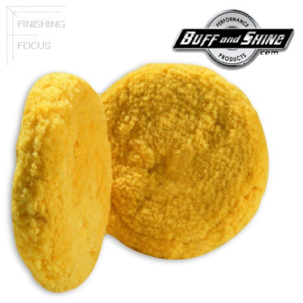 "Buff and Shine 8"" Wool, Yellow Blend 4-Ply Twist, Medium Cutting - Polishing Double Sided Pad, 803Y"
