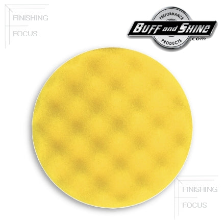 "Buff and Shine 8"" Center Ring Convoluted Waffle Face Foam, Yellow Med Cutting Pad, 830WR"