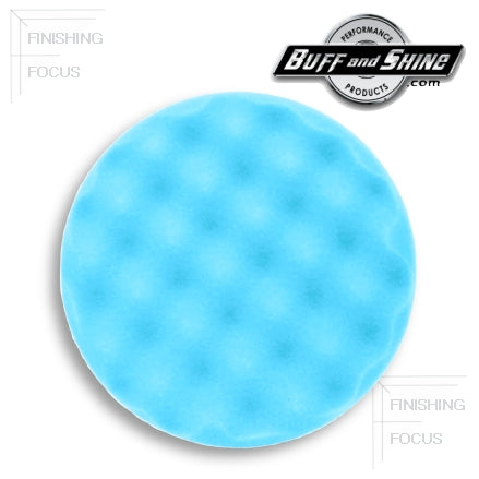 "Buff and Shine 8"" Center Ring Convoluted Waffle Face Foam, Light Blue Ultra Finishing Pad, 852WR"