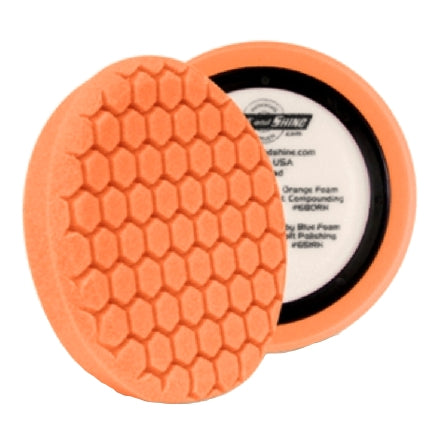 "Buff and Shine 7.5"" Center Ring Hex Face Euro Foam, Orange Medium Cutting Pad, 680RH, 2"