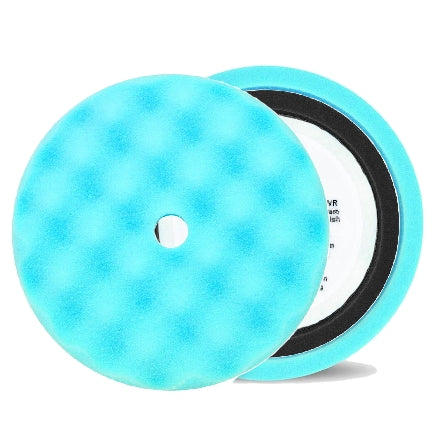 "Buff and Shine 8"" Center Ring Waffle Face Foam, Light Blue Ultra Finishing Pad, 852WR"