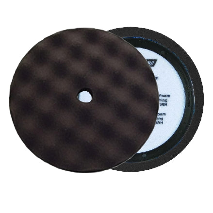 "Buff and Shine 8"" Center Ring Convoluted Waffle Face Foam, Black Finishing Pad, 820WR"