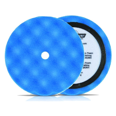 "Buff and Shine 8"" Center Ring Convoluted Waffle Face Foam, Blue Soft Polishing Pad, 850WR"