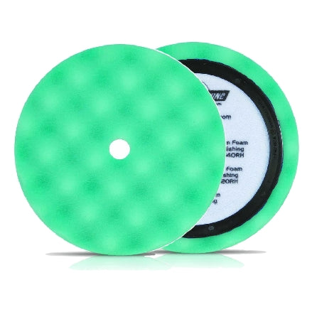 "Buff and Shine 8"" Center Ring Convoluted Waffle Face Foam, Green Polishing Pad, 840WR"