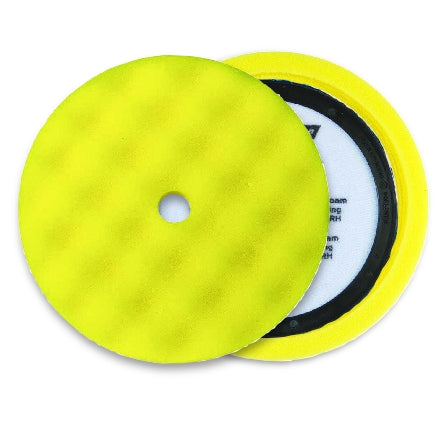 "Buff and Shine 8"" Center Ring Waffle Face Foam, Yellow Medium Cutting Pad, 830WR"