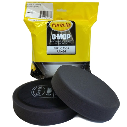 "Farecla G Mop 6"" Foam Black Finishing Grip Pad, 2-Pack, GMF601"