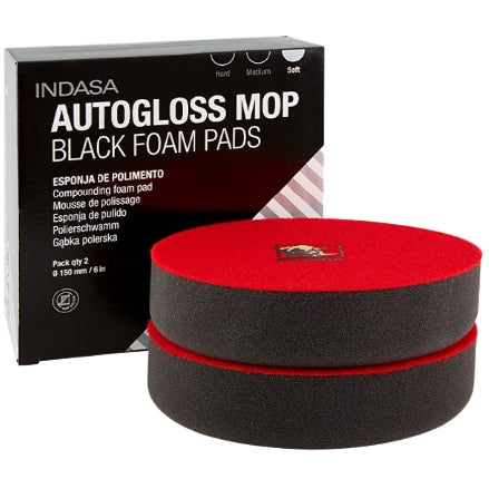 "Indasa Autogloss Mop 8"" Black Foam Soft Finishing Pad, 2-Pack, 600931"