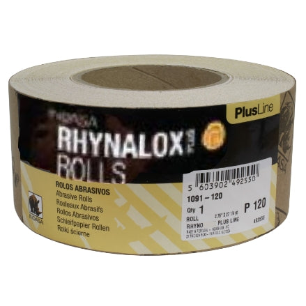 "Indasa 2.75"" Rhynalox PlusLine Plain Back Long Board Rolls, 1091 Series"