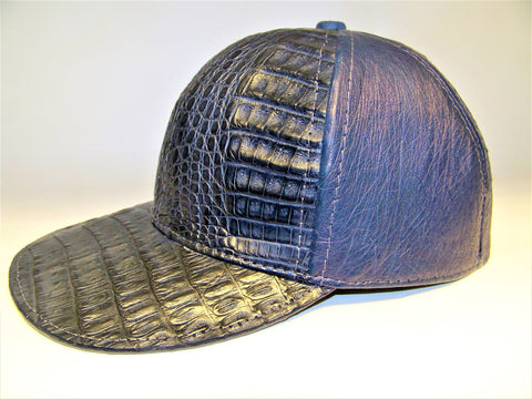 Gator and leather adjustable baseball cap - Navy