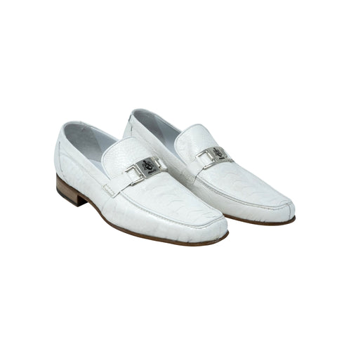 Mauri Slip On Ostrich Leg Dress Shoe - White