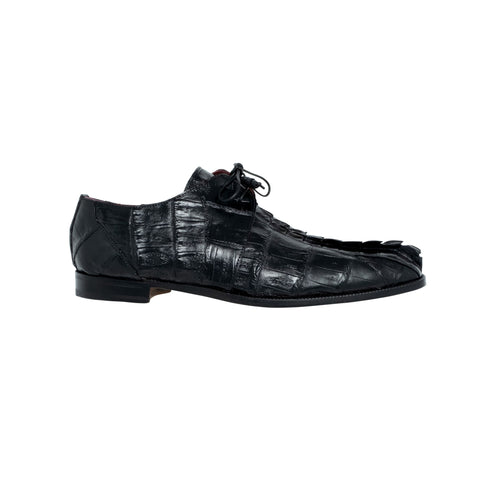 Mauri Lace-Up Hornback and Baby Crocodile - Black