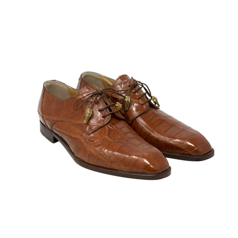 Mauri Body Alligator Lace Up - Dark Cognac