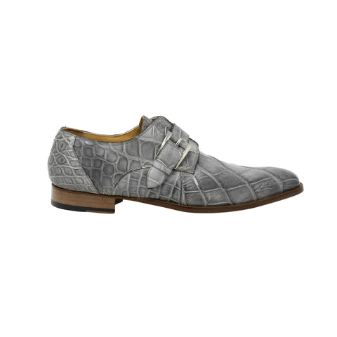 Mauri Body Alligator Hand Painted Monk Strap - Light Grey Burnished