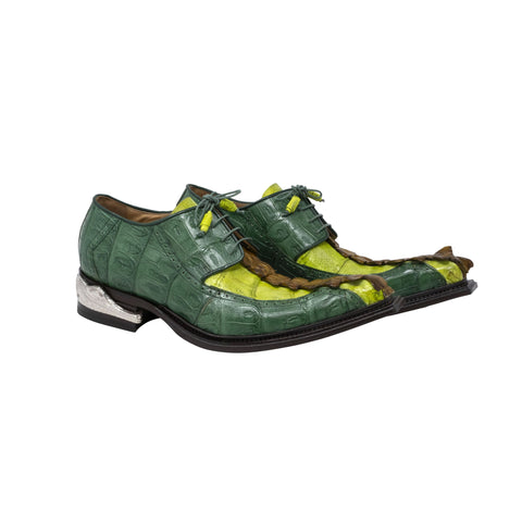 "Mauri Hornback and Baby Crocodile Hand Painted Dress Shoe ""The Double Dragon"""