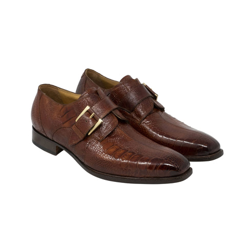 Mauri Hand Painted Ostrich Leg Monk Strap - Gold Burnished