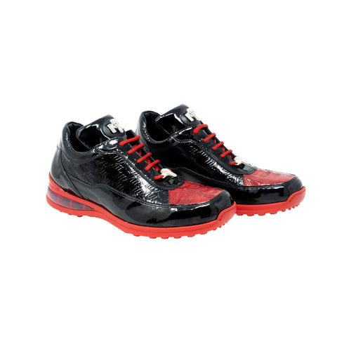 Mauri - Baby Crocodile Hand Painted Embossed Patent Sneaker  Black/Red