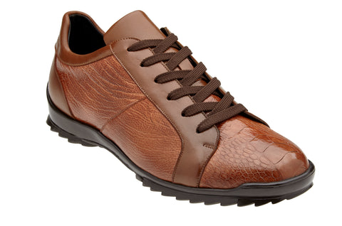 Ostrich and Italian Calf Sneaker - Honey