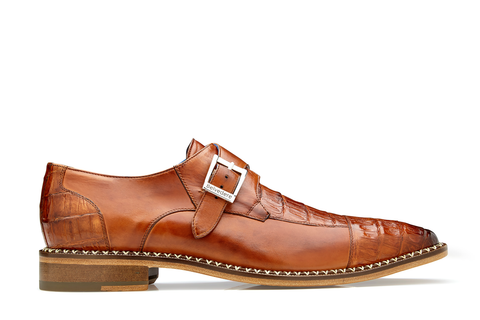 Monk Strap Caiman Dress Shoe - Almond Safari