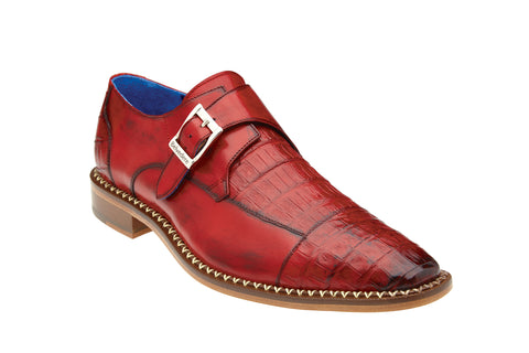 Monk Strap Caiman Dress Shoe - Cherry