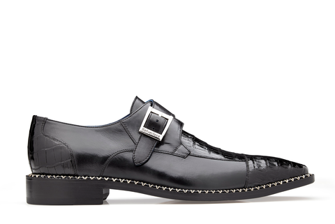 Caiman Monk Strap Dress Shoe - Black