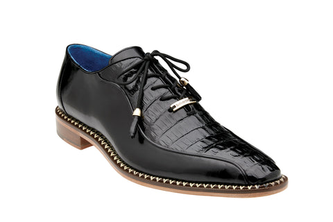 Caiman Lace-Up Dress Shoe  -  Black