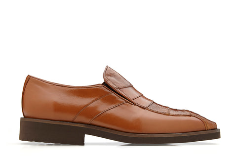 Ostrich and Soft Italian Calf Slip-On with an Ultra Light Rubber Sole