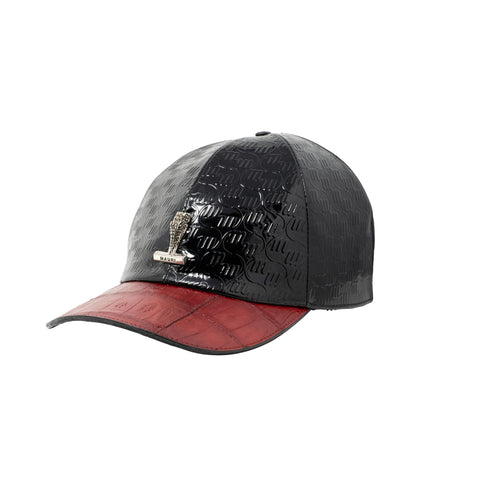 Mauri Baby Crocodile Hand Painted Cap - Patent Embossed - Red/Black