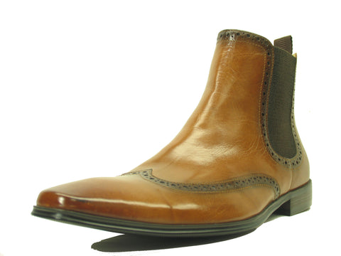 Carrucci Genuine Calf Skin Leather Boots - Cognac