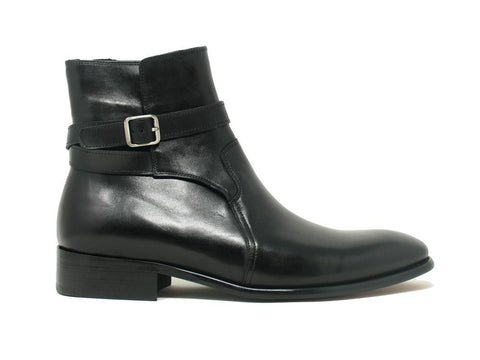 Carrucci Leather Strap Buckle Boots