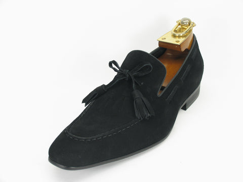 Carrucci Genuine Suede Leather Loafer Shoes With Tassel - Black