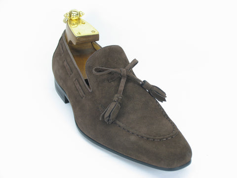 Carrucci Genuine Suede Leather Loafer Shoes With Tassel - Brown