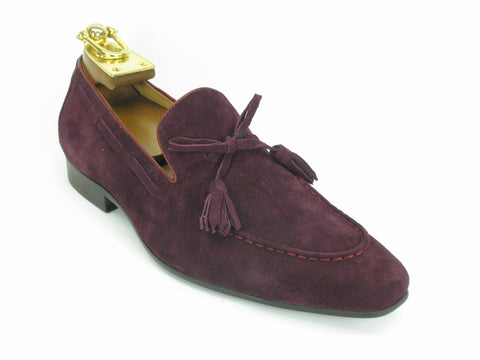 Carrucci Genuine Suede Leather Loafer Shoes With Tassel - Burgundy