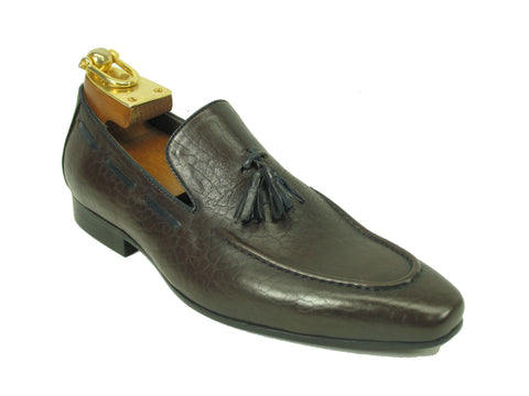 Carrucci Genuine Calf Skin Leather Loafer Shoes With Tassel - Brown