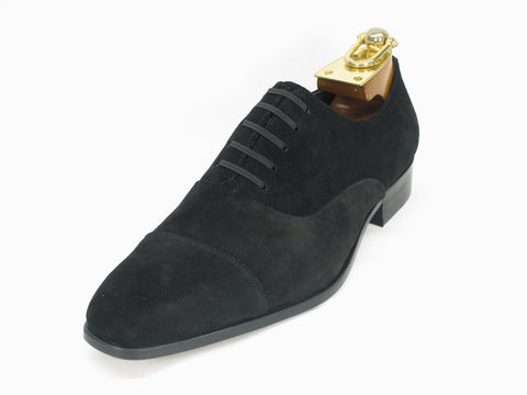 Carrucci Genuine Suede Leather Oxford Shoes - Black