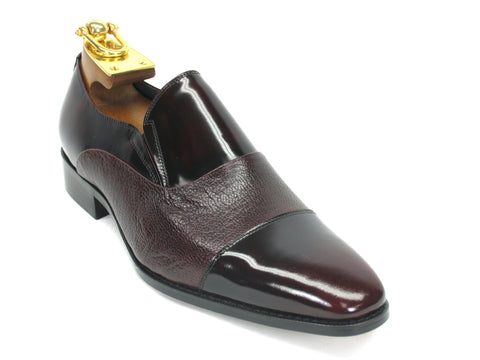 Carrucci Genuine Calf Skin Leather Loafer Shoes - Burgundy