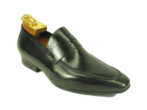 Carrucci Genuine Calf Skin Leather Loafer Shoes - Black