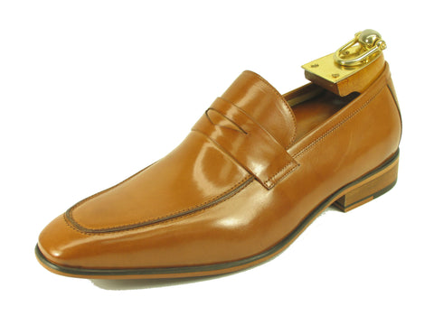 Carrucci Genuine Calf Skin Leather Loafer Shoes - Tan