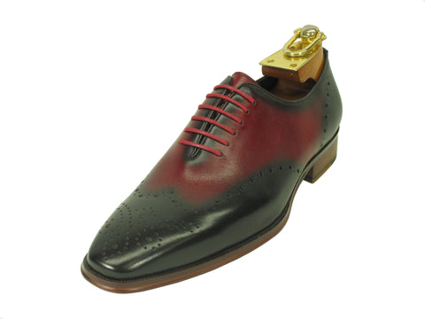 Carrucci Genuine Calf Leather Perforated Lace-up Shoes - Red & Black