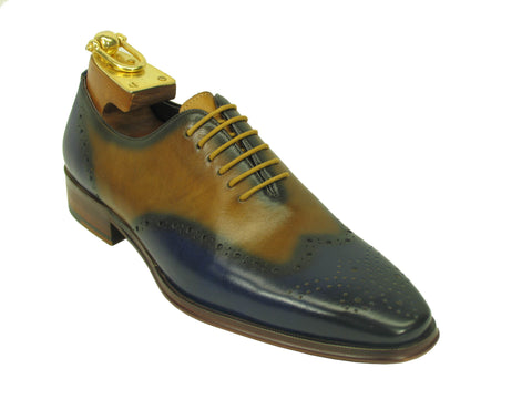 Carrucci Genuine Calf Leather Perforated Lace-up Shoes - Blue & Tan