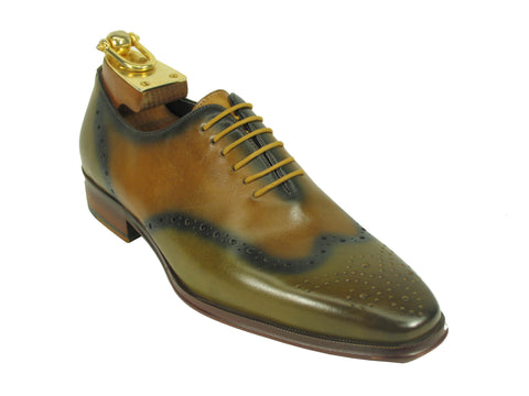 Carrucci Genuine Calf Leather Perforated Lace-up Shoes - Green & Tan