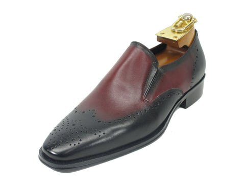 Carrucci Genuine Calf Leather Perforated Loafer Shoes - Black & Burgundy