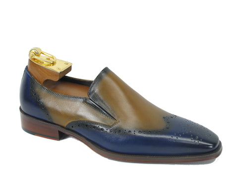 Carrucci Genuine Calf Leather Perforated Loafer Shoes - Blue & Tan