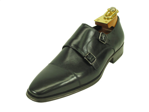 Carrucci Genuine Calf Skin Leather With Two Monk Strap Shoes - Black
