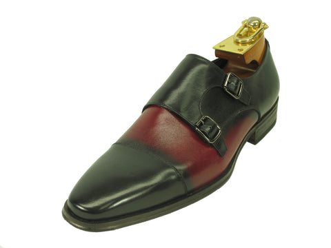 Carrucci Genuine Calf Skin Leather With Two Monk Strap Shoes - Black/Burgundy