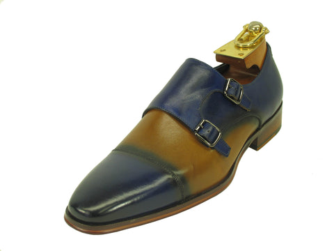 Carrucci Genuine Calf Skin Leather With Two Monk Strap Shoes - Blue/Tan
