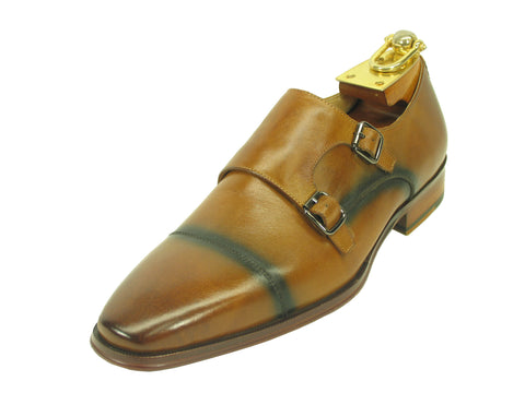 Carrucci Genuine Calf Skin Leather With Two Monk Strap Shoes - Tan