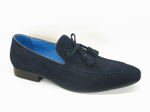 Carrucci Genuine Suede Leather With Tassel Loafer Shoes - Midnight Blue