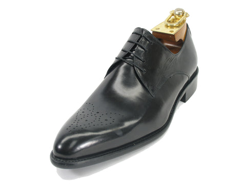 Carrucci Perforated Design Genuine Calf Skin Leather Dress Shoes - Black