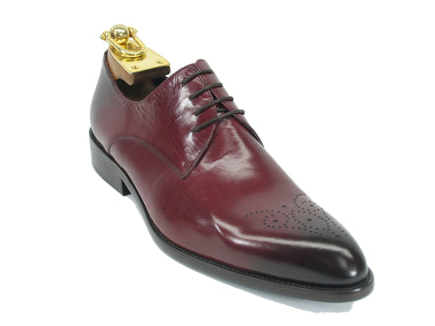 Carrucci Perforated Design Genuine Calf Skin Leather Dress Shoes - Burgundy