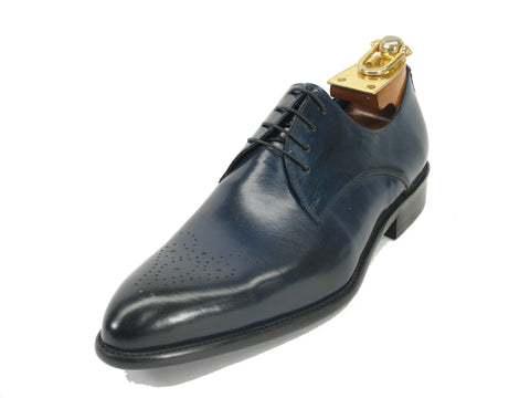 Carrucci Perforated Design Genuine Calf Skin Leather Dress Shoes - Navy